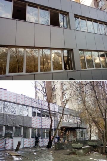 Облицовка фасада здания алюминиевым композитным листом